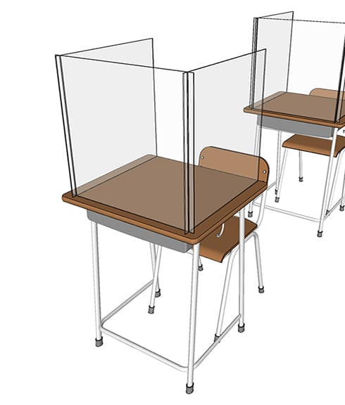 3-Sided Desk Shield for Students Classrooms - Lifestyle