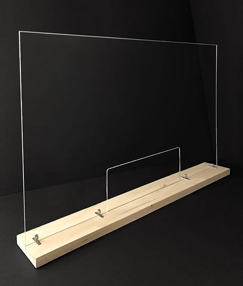 Large Plexiglass Divider with Base and Window Cutout - Shields and Guards for Businesses - Showcase Acrylics
