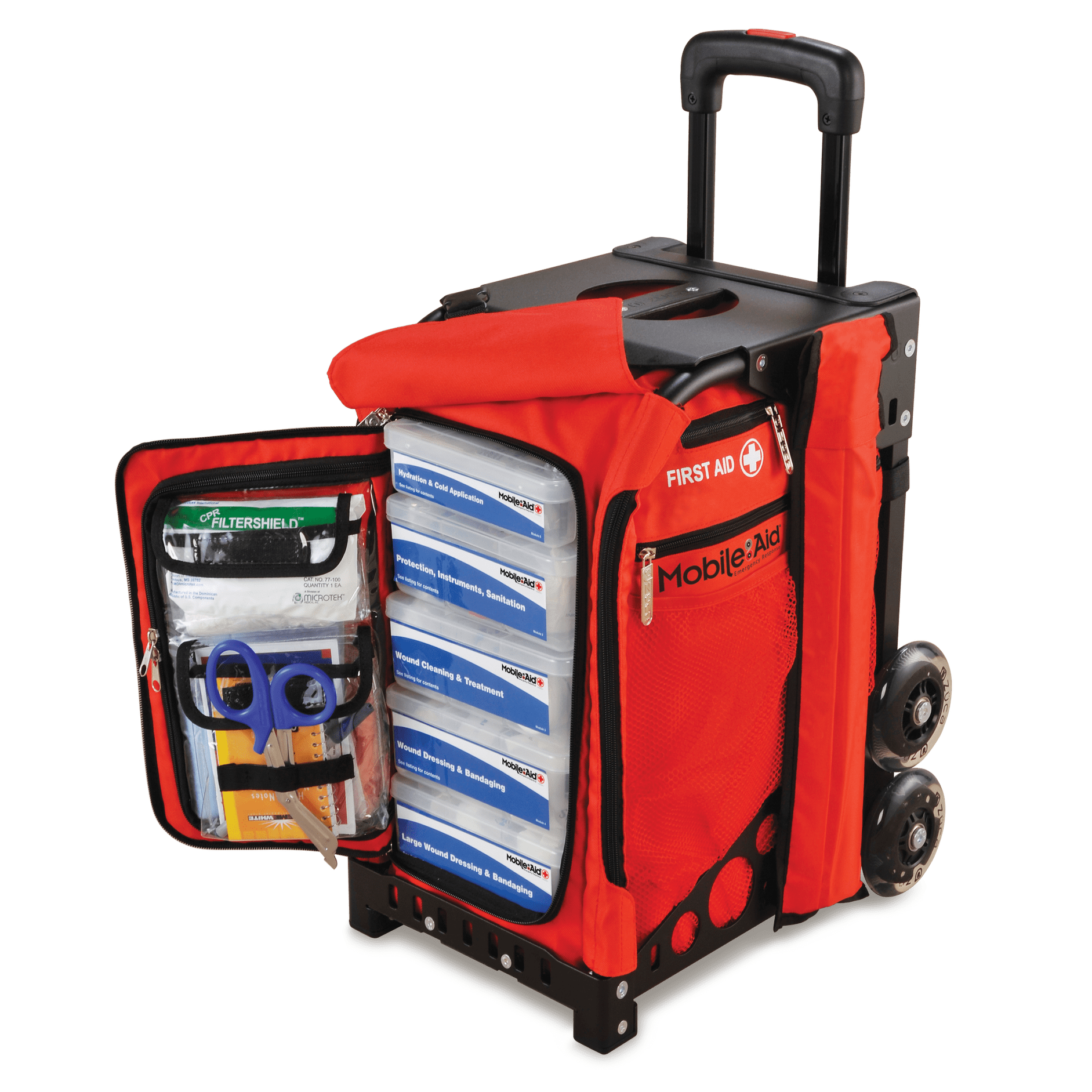 [Fully-loaded] MobileAid EASY-ROLL Hi-Visibility Trauma First Aid Station (31500)