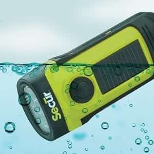 SECUR Waterproof Solar/Dynamo Hand-Crank Emergency LED Flashlight